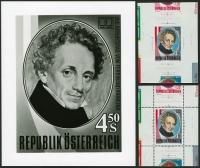 Österreich, 1991, ANK Nr. 2025, MICHEL Nr. 1993, 200. Geburtstag von Ferdinand Raimund - ungezähnter und gezähnter EINZELABZUG im Kleinbogenformat und FOTOPROBE, je mit ATTEST Dr. Glavanovitz