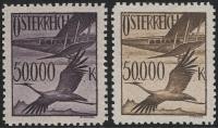 Österreich, 1925, ANK Nr. 486 P, Michel Nr. 486 P, Flugpostausgabe 1925 - Probedrucke in Dunkelviolett und Graubraun mit NOMINALE 50.000 Kronen anstatt 5 Schilling ohne Gummierung wie hergestellt, ATTEST Soecknick
