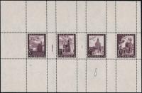 Österreich, 1947, ANK Nr. 820 P II + 821 P II + 822 P II + 826 P II, Flugpostausgabe 1947 - 50 Gr. + 1 S + 2 S + 10 S als Probedrucke in Dunkelviolettbraun im gezähnten Zusammendruck-Kleinbogen, postfrisch, ATTEST Soecknick