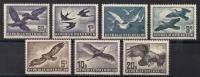 ANK Nr. 967 - 973, Michel Nr. 955,956,968z,984-987 Flugpostserie Vögel 1950 komplett Serie aller 7 Werte, 20 S mit grauer Gummierung, DB D916
