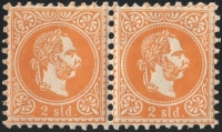 Österreichische Post in der Levante, 1867, Nr. 1 I a, 2 Soldi orange, postfrisch im waagrechten Paar, rechte Marke mit Wasserzeichen-Teil auf ungewöhnlich DICKEM PAPIER, BEFUND Dr. Ferchenbauer