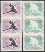 Österreich, 1963, ANK Nr. 1169 U V + 1170 PU II, MICHEL Nr. 1139 U V + 1140 F U II, Olympische Winterspiele Innsbruck, 1.80 S + 2.20 S ungezähnt im 3er-Streifen MIT VERSCHOBENEM SCHWARZDRUCK bzw. FARBE SCHWARZ FEHLEND, postfrisch, ATTEST Soecknick, DB