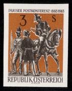 Österreich, 1963, ANK Nr. 1159 PU II, Michel Nr. 1129 P U II, Pariser Postkonferenz, ungezähnte Farbprobe in Braunorange/Schwarz, postfrisch, BEFUND Dr. Glavanovitz