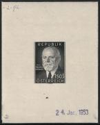 Österreich, 1953, ANK Nr. 995, MICHEL Nr. 982 Ph, 80. Geburtstag von Bundespräsident Dr. h. c. Theodor Körner als Probedruck Phasendruck 2. Phase in schwarz auf gummiertem Papier vom 24. Jan 1953 - ATTEST Soecknick