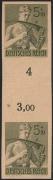 Deutsches Reich, Ostmark ( Österreich im 3. Reich ), 1943, Nr. 851 P U, Reichsarbeitsdienst, 5+10 Pfg. als ungezähnter senkrechter Zwischensteg auf gelblichem dünnem Papier, ohne Gummierung, BEFUND Schlegel