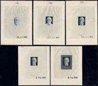Österreich, 1948, ANK Nr. 939, Michel Nr. 927, 30 JAHRE REPUBLIK ÖSTERREICH - DR. KARL RENNER, komplette Garnitur aller 5 Phasendrucke in FARBE