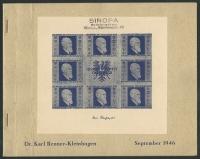 Österreich, 1946, ANK Nr. 780 A - 783 A Michel Nr. 772 B - 775 B, Renner-Kleinbögen bzw. Renner-Block postfrisch mit Renner Block Umschlag, IN DIESER FORM SEHR SELTEN - ATTEST Dr. Glavanovitz