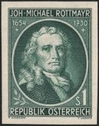 Österreich, 1954, ANK Nr. 1016 U, MICHEL Nr. 1007 U, 300. Geburtstag von Johann Michael Rottmayr UNGEZÄHNT, postfrisch, ATTEST Soecknick