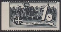 1938, Schuschnigg - Wahlwerbevignetten, Wert zu 10 Groschen in Grauschwarz, Randstück vom linken Bogenrand, postfrisch, Luxuserhaltung, DB
