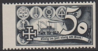 1938, Schuschnigg - Wahlwerbevignetten, Wert zu 50 Groschen in Grauschwarz, Randstück vom linken Bogenrand, postfrisch, Luxuserhaltung, DB