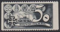 1938, Schuschnigg - Wahlwerbevignetten, Wert zu 50 Groschen in Grauschwarz, Randstück vom rechten Bogenrand, postfrisch, Luxuserhaltung, DB