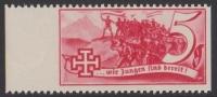1938, Schuschnigg - Wahlwerbevignetten, Wert zu 5 Groschen in Rot, Randstück vom linken Bogenrand, postfrisch, Luxuserhaltung, DB D537