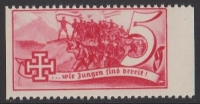 1938, Schuschnigg - Wahlwerbevignetten, Wert zu 5 Groschen in Rot, Randstück vom rechten Bogenrand, postfrisch, Luxuserhaltung, DB D537
