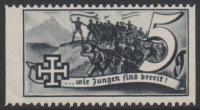 1938, Schuschnigg - Wahlwerbevignetten, Wert zu 5 Groschen in Grauschwarz, Randstück vom linken Bogenrand, postfrisch, Luxuserhaltung, DB D537