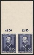 Österreich, 1954, ANK Nr. 1015 U, Michel Nr. 1006 U, Carl Freiherr Auer Ritter von Welsbach UNGEZÄHNT im waagrechten PAAR vom oberen Bogenrand mit REIHENWERTZÄHLER, postfrisch, ATTEST Soecknick