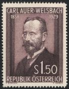 Österreich, 1954, ANK Nr. 1015 P II, MICHEL Nr. 1006 P II, 25. Todestag von Carl Freiherr Auer Ritter von Welsbach PROBEDRUCK in braun, ohne Gummierung, ATTEST Soecknick