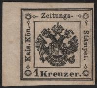 Österreich Lomarbei-Venetien, Zeitungsstempelmarken-Ausgabe 1859, Nr. Z 1 a *, 1 Kreuzer schwarz, Type I, links 5 mm Randstück, ungebraucht, ATTEST Dr. Ferchenbauer