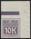 """Porto Nr. 46, Weiße Wertziffer auf violettem Grund, Wert zu 10 Kronen aus der rechten oberen Bogenecke MIT RANDLEISTE (BALKEN), postfrisch, ATTEST Soecknick """"echt und einwandfrei"""" DB D1292"""