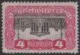 """ANK Nr. 287 D, Michel Nr. 287 D, Freimarkenausgabe: Parlament, 4 Kronen mit KOPFSTEHENDEM MITTELSTÜCK, ungebraucht, ATTEST Soecknick """"echt und einwandfrei"""" DB CG"""