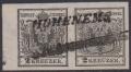 """Österreich 1850, Nr. 2 H I a, 2 Kreuzer schwarz, Handpapier Type I a im waagrechten Paar links mit 5 mm Bogenrand, entwertet mit seltenem einzeiligem Langstempel HOHENEMS, ATTEST Goller """"echt und einwandfrei"""" DB VF1547"""