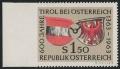 Österreich, 1963, ANK Nr. 1163 Ul, MICHEL Nr. 1133 Ul, 600 JAHRE TIROL mit SEHR SELTENER ZÄHNUNGSABART - LINKS UNGEZÄHNT, postfrisch, ATTEST Soecknick