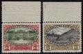 """154 + 155, Jubiläumsausgabe 1908, Werte zu 2 Kronen + 5 Kronen als RANDSTÜCKE vom oberen Bogenrankd mit PLATTENNUMMER 1 - SEHR SELTEN !!! ATTEST Soecknick """"echt und einwandfrei"""""""