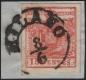 Österreich Lombardei-Venetien, Freimarken-Ausgabe 1850/54, MAILÄNDER POSTFÄLSCHUNG - 15 Centesimi zinnoberrot, Type I auf Briefstück, entwertet mit