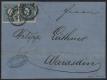 """Österreich, 1858/59, Nr. 15 II a + 15 II b, Freimarkenausgabe 1858/59, 15 Kreuzer blau Type II + 15 Kreuzer dunkelblau Type I als RARE KOMBINATION auf komplettem Faltbrief von KLAGENFURT nach WARASDIN, ATTEST Dr. Ferchenbauer """"PRACHTSTÜCK !"""" - DB 6019"""