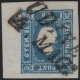 """Österreich, 1858, Zeitungsmarken-Ausgabe 1858, Ferchenbauer Nr. 16, 1,05 Kreuzer bzw. Soldi, blau, Type I, links 6 - 6,5 mm Randstück, entwertet mit """"UDINE 4. MAGO"""", ATTEST Dr. Ferchenbauer """"erlesenes PRACHTSTÜCK!"""" - SELTEN !! - DB 6021"""