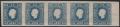 """Österreich, 1858, Zeitungsmarken-Ausgabe 1858, Ferchenbauer Nr. 16 a, 1,05 Kreuzer blau im waagrechten, ungebrauchten 5er-Streifen vom rechten Bogenrand mit 7,5 mm Randstück - ATTEST Dr. Ferchenbauer """"erlesenes PRACHTSTÜCK!"""" DB"""