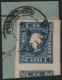 """Österreich, 1858, Zeitungsmarken-Ausgabe 1858, Ferchenbauer Nr. 16 b, 1,05 Kreuzer, dunkelblau, Type I auf kleinem grünblauem Schleifen-Stück, entwertet mit """"WAITZEN 8/4"""", ATTEST Dr. Ferchenbauer """"PRACHTSTÜCK!"""" - DB 6026"""