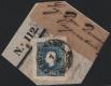 """Österreich, 1858, Zeitungsmarken-Ausgabe 1858, Ferchenbauer Nr. 16 b, 1,05 Kreuzer dunkelblau, Type I, auf kleinem Zeitungsstück, entwertet mit """"CERVIGNANO 7/8"""", ATTEST Dr. Ferchenbauer """"besonders attraktives KABINETTSTÜCK!"""", DB"""