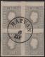"""Österreich, 1858/59, Zeitungsmarken-Ausgabe 1858/59, Ferchenbauer Nr. 17 f, 1,05 Kreuzer grau im 4er-Block mit """" HATVAN 6 / JAN. """" entwertet, im unteren Paar ein starker, schräger geglätteter Bruch, ATTEST Dr. Ferchenbauer """"seltenes Stück!"""" DB 6033"""