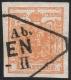 """Österreich, 1850, Nr. 1 H III, 1 Kreuzer orange Handpapier Type III mit klarem Wiener Rhomben-Teilstempel - BEFUND Dr. Ferchenbauer """" farbintensives, rundum besonders breitrandiges erlesenes PRACHTSTÜCK ! """" - DB STI286"""