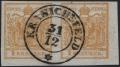 """Österreich, 1850, Ferchenbauer Nr. 1 H III, 1 Kreuzer ockergelb Handpapier Type III im waagrechten Paar, rechts 4,5 mm Randstück, entwertet """"KRANICHSFELD 31/12"""", BEFUND Dr. Ferchenbauer """"farbtiefes erlesenes PRACHTSTÜCK!"""" - DB"""