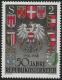 Österreich, 1968, ANK Nr. 1304 V, MICHEL Nr. 1275 V, 50 Jahre Republik mit ABART STARK VERSCHOBENER GRÜNDRUCK, postfrisch, ATTEST Soecknick