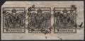 """Österreich, 1850, Ferchenbauer Nr. 2 H I a, 2 Kreuzer, schwarz, Handpapier, Type I a, im waagrechten 3er-Streifen auf Briefstück, entwertet mit """" HOHENEMS """" ( Müller Nr. 1014 a / 200 Punkte ) - ATTEST Dr. Ferchenbauer """" erlesenes PRACHTSTÜCK ! """" - DB 6004"""