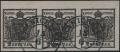 """Österreich, 1850, Ferchenbauer Nr. 2 H I b, 2 Kreuzer tiefschwarz Handpapier Type I b im waagrechten 3er-Streifen, oben 4,5 mm Randstück, entwertet mit schwärzlich-blauem """"KRANICHSFELD 15/6"""", ATTEST Dr. Ferchenbauer """"erlesenes PRACHTSTÜCK!"""" - DB AK"""