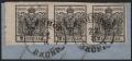 """Österreich, 1850/54, Ferchenbauer Nr. 2 M III b, 2 Kreuzer, tiefschwarz, Maschinenpapier, Type III b, 3er-Streifen vom linken Bogenrand ( 6 mm Randstück MIT NADELPUNKT ) ! mit Falz auf Briefstück geklebt, ATTEST Dr. Ferchenbauer """"PRACHTSTÜCK!"""" DB 6008"""