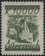 """Österreich, 1925, ANK Nr. 466 P, MICHEL Nr. 466 P, Freimarke Minoritenkirche - Farbprobe in verausgabter Farbe MIT NOMINALE 10.000 Kronen ANSTATT 1 Schilling = NICHT VERAUSGABTE BRIEFMARKE, ATTEST Soecknick """"echt und einwandfrei"""" DB HDR449"""