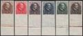 Österreich, 1930, ANK Nr. 512 U - 517 U, MICHEL Nr. 512 U - 517 U, Lungenheilstätten in Kärnten bzw. Wilhelm Miklas, UNGEZÄHNT, Randstücke vom unteren Bogenrand, ohne Gummierung wie hergestellt, ATTEST Soecknick