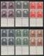 """Österreich, 1931, ANK Nr. 524 - 529, MICHEL Nr. 524 - 529, Österreichische Dichter im 4er-Block einheitlich vom unteren Bogenrand, postfrisch, ATTEST Soecknick """"echt und einwandfrei"""""""