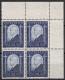 """Österreich, 1932, ANK Nr. 544, MICHEL Nr. 544, Tod von """"Dr. Ignaz Seipel"""" im 4er-Block aus der rechten oberen Bogenecke, postfrisch, DB D503"""