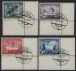 Österreich, 1933, ANK Nr. 551 - 554, MICHEL Nr. 551 - 554, FIS I - FIS WETTKÄMPFE INNSBRUCK 1933 einheitlich aus der rechten unteren Bogenecke mit zeitgerechtem Tagesstempelabschlag 1/1 WIEN 1 *1a* 10.II.33, ATTEST Soecknick