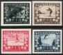 """Österreich, 1933, ANK Nr. 551 PU - 554 PU, MICHEL Nr. 551 PU - 554 PU, FIS I - Wettkämpfe Innsbruck, UNGEZÄHNTE PROBEDRUCKE in anderen Farben auf Kunstdruckpapier, ATTEST Soecknick """"echt und einwandfrei"""" - TOP-RARITÄT 1. RANGES !! DB HDR938"""