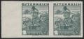 Österreich, 1934, ANK Nr. 584 U, MICHEL Nr. 584 U, Österreichische Volkstrachten - 2 Schilling in der seltenen Farbe graugrün bzw. dunkelbläulichgrün UNGEZÄHNT im waagrechten Paar vom linken Bogenrand, postfrisch, ATTEST Soecknick