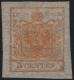 """Österreich Lombardei-Venetien, Freimarken-Ausgabe 1850, 5 Centesimi orange, ungebraucht, ATTEST Dr. Ferchenbauer """"Es handelt sich um ein besonders wirkungsvolles KABINETTSTÜCK !"""" - DB 6070"""