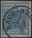 Österreich, 1850, Ferchenbauer Nr. 5 H II b, 9 Kreuzer, graublau, Handpapier, Type II a, Seidenpapier 0,06 mm, zarter Maschinen-Abklatsch, kleiner Plattenfehler, entwertet mit