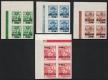 Österreich, 1935, ANK Nr. 613 U - 616 U, MICHEL Nr. 613 U - 616 U, Winterhilfe II - 2. Ausgabe UNGEZÄHNT im 4er-Block einheitlich aus der linken oberen Bogenecke MIT RANDLEISTE, postfrisch, ATTEST Soecknick