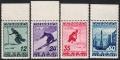 Österreich, 1936, ANK Nr. 623 - 626, MICHEL Nr. 623 - 626, FIS Wettkämpfe Innsbruck 1936 - FIS II - 2. Ausgabe, einheitlich vom oberen Bogenrand, postfrisch, DB D1077